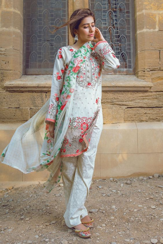 Summer Shalwar Kameez Designs printed white dress
