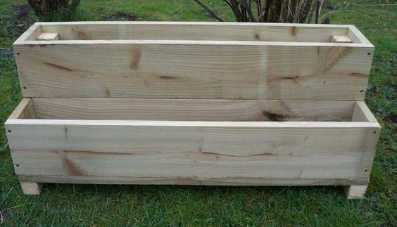two tiered tanalised wooden garden planter, 600, 900 or 1200mm wood trough | eBay