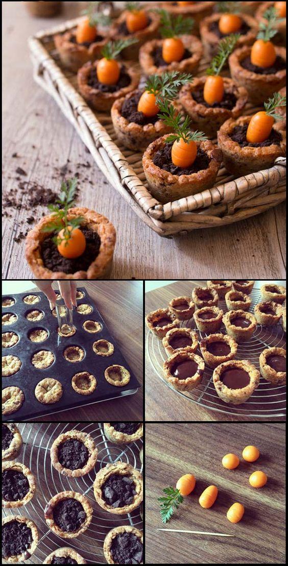 Carrot cookies pot - recettes de Pâques : cookies en forme de pot, garnis de ganache au chocolat, oreo et d'une carotte en pâte d'amandes / www.odelices.com: