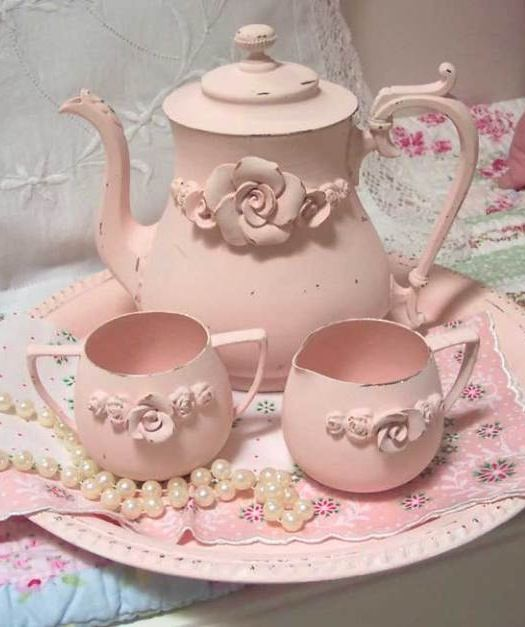 try Guardian Angel's supply of silver plate, paint the pieces pink and display. Don't forget a tray. Shabby Chic Pink Tea Set