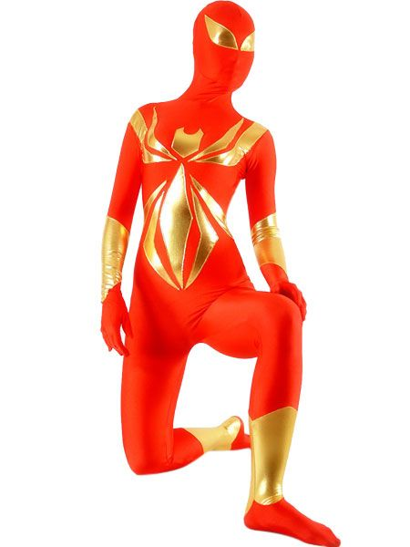 Red And Gold Lycra Spandex Shiny Metallic Unisex Zentai Suit