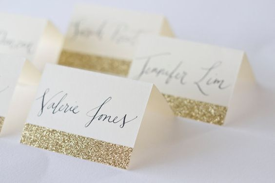 Glitter Place Cards with Custom Calligraphy for Wedding Event Party or Shower @Emily Schoenfeld Schoenfeld Schoenfeld Schoenfeld Sandberg