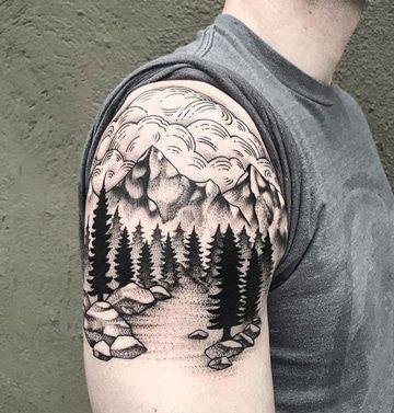 Radiantes Y Originales Tatuajes De Paisajes En El Brazo Tatuaje De Paisaje Tatuaje De Jeep Tatuaje De Cordillera