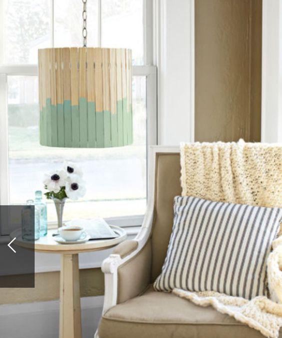 Lampe aus Holzstäbchen - DIY