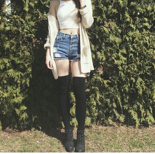 High waisted shorts, knee highs, and crop top | Stylin ... Knee High Socks Summer Outfits