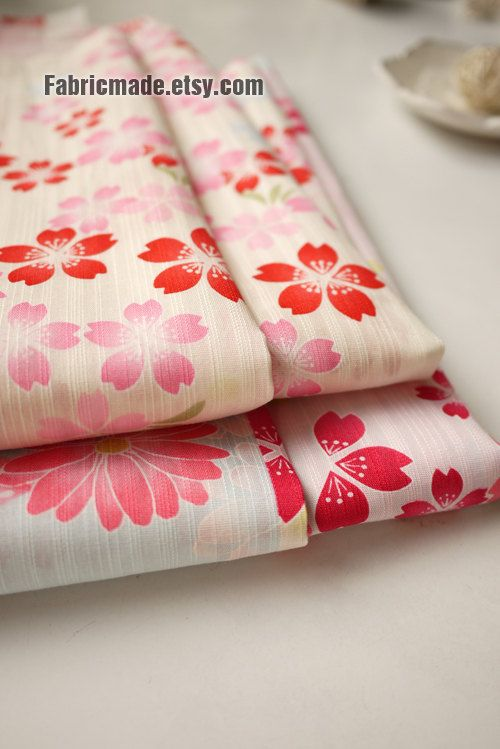 Shabby Chic Fabric Japanese Kimono Pink Sakura Flower Two Sections Quilting Bedding Curtain 1 2 Yard