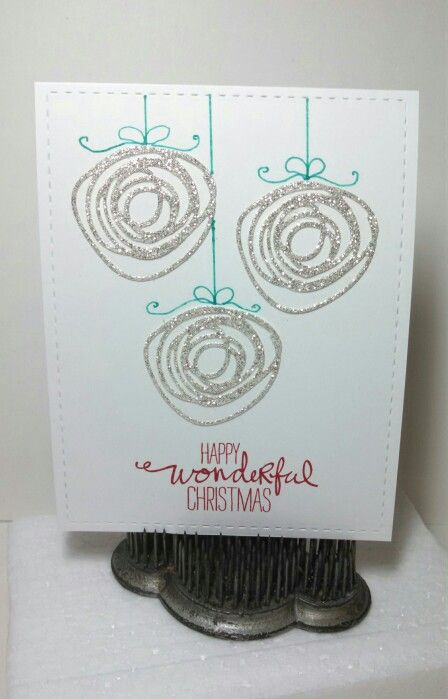 Whimsical Christmas greetings -- Circle Scribbles die (Papertrey Ink), Wondrous Wreath stamp set (Stampin' Up!) sentiment, Lil' Inkers Stitched Rectangles. Designed and created by Jeanie Tavitas-Williams.: