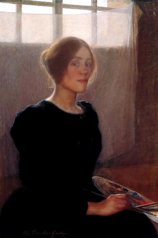 Self portrait Elin Danielson Gambogi -1861-1919. Finnish painter. She is best known for her realist works and portraits. Danielson-Gambogi was part of the first generation of Finnish women artists who received professional education in art, so called painter sisters' generation.