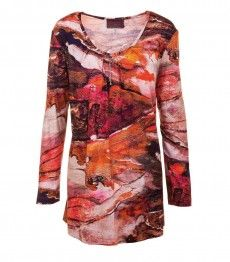 Sempre Piu Langarmshirt für Mollige Damen in Orange Kupfer