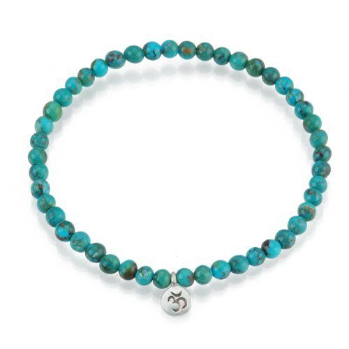 "Satya Jewelry ""Inner Peace Turquoise Stretch"" Sterling Silver Bracelet Satya Jewelry. $30.40. Om is the sacred sound of the universe, which brings inner peace and harmony. Made in United States. Gemstones are natural, there will be minor variances in color and size. Turquoise cleanses the spiritual energy center.. Save 20%!"