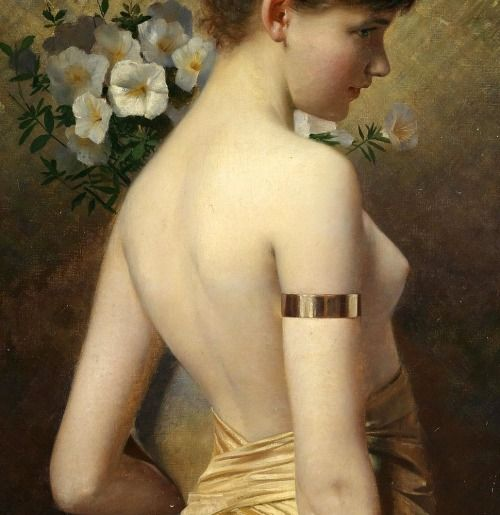 """""""A Young Girl, Half Dressed in a Sarong, Holding a Vase of Flowers"""" (detail) by Max Nonnenbruch (1857-1922)."""