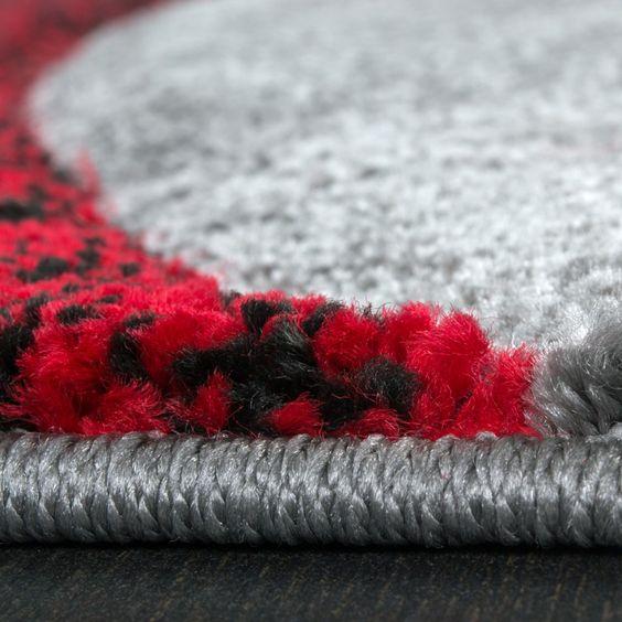 Designer Teppich mit Konturenschnitt Muster Gestreift Grau Schwarz