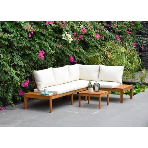 International Home Amazonia 3 Piece Teak Finish Patio Seating Set With Cushions At Lowe S Both Refi Cheap Patio Furniture Patio Sectional Teak Patio Furniture