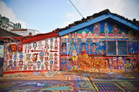 taichung village, taiwan.  almost everything in the village is painted.