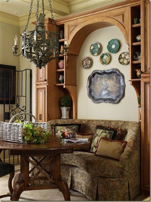 Breakfast Nook--love the cabinetry AND the sofa/booth!!!