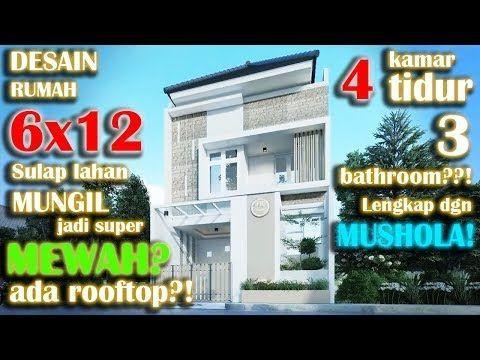 desain rumah 6x12 4 kamar tidur dengan rooftop dan kolam