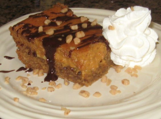 Caramel, Chocolate & Almond Gooey Butter Cake - looks like sin and heaven all in one bite.