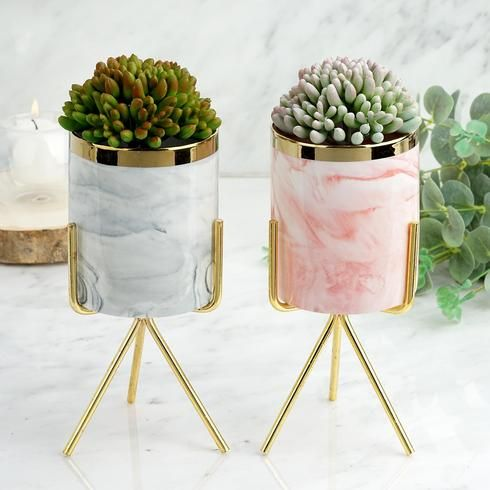 8 Gold Rimmed Pink Marble Ceramic Vase Planter Pot With Gold Metal Stand In 2020 Ceramic Flower Pots Ceramic Flowers Flower Pots