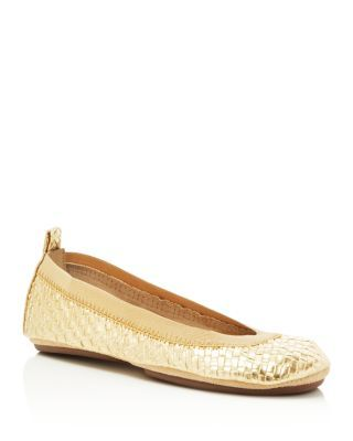 Yosi Samra Woven Metallic Ballet Flats - Compare at $77 | Synthetic upper, leather lining, synthetic sole | Imported | Round toe, slip-on style, lightly cushioned footbed, elastic side goring | Availa
