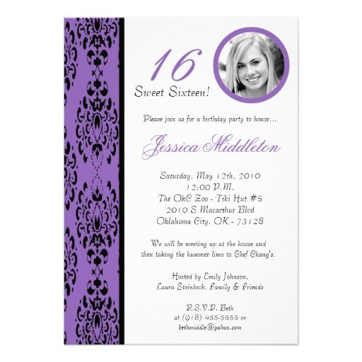 >>>The best place 5x7 Purple Damask 16 Birthday Party Invitation 5x7 Purple Damask 16 Birthday Party Invitation We have the best promotion for you and if you are interested in the related item or need more information reviews from the x customer who are own of them before pl...Cleck Hot Deals >>> http://www.zazzle.com/5x7_purple_damask_16_birthday_party_invitation-161234704833355691?rf=238627982471231924&zbar=1&tc=terrest