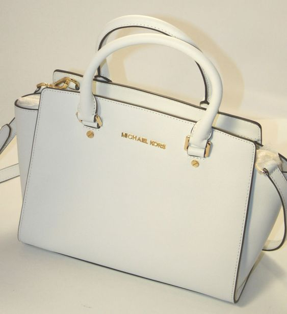 NWT MICHAEL KORS SELMA Saffiano Leather Md Tz Satchel 30S3GLMS2L OPTIC WHITE #MichaelKors #Satchel