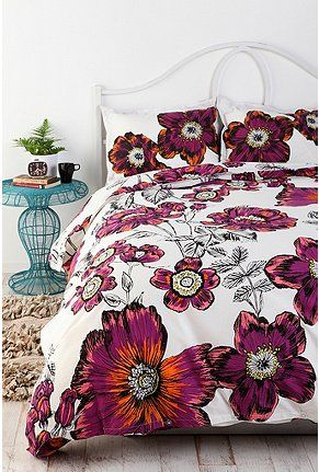 Urban Outfitters Sketchbook Floral Duvet Cover