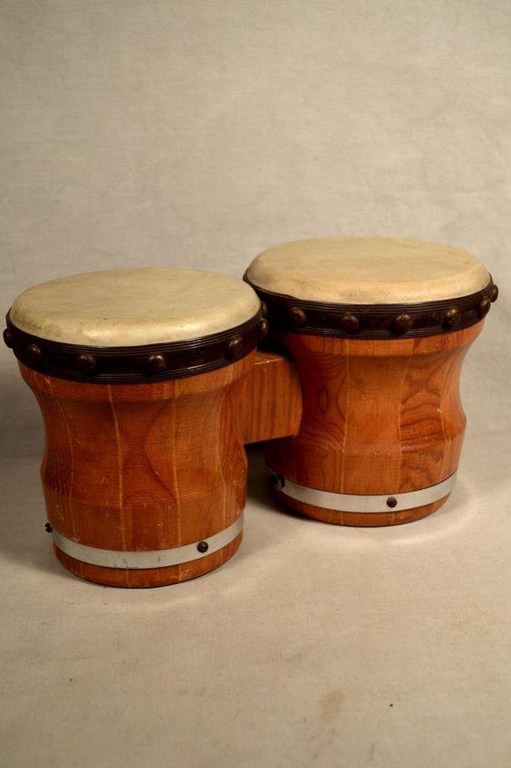 Vintage bongo drums bongos wooden percussion instrument