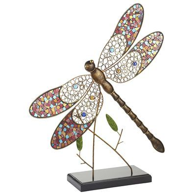 Metal Mosaic Dragonfly with Stand