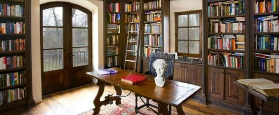 Tuscan-inspired home in Boise, Idaho, with two-story library
