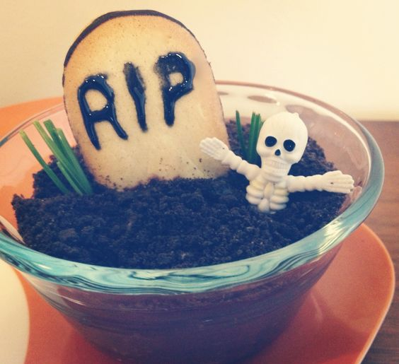 """The Spookiest Snack in Town: Tombstone Pudding Cups 