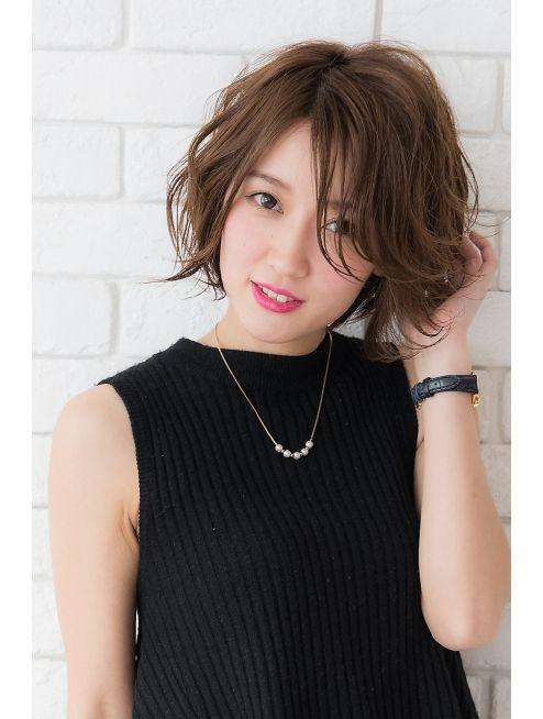 ミエルヘアー 新宿エスト3号店(miel hair)スポンテニアス甘辛MIXゆるふわショートボブ