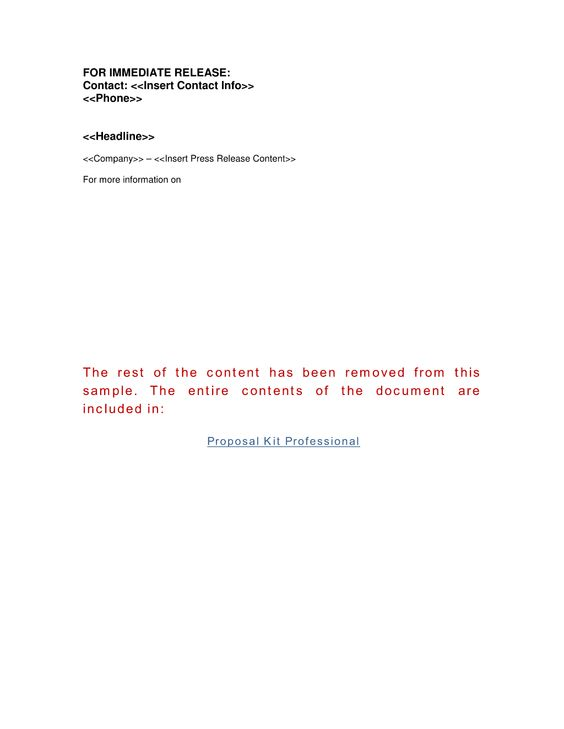 Press Release Template - Use the Press Release template to send - press release template sample