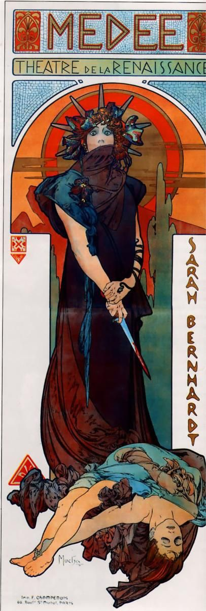 My all time favorite Alphonsea Mucha lithograph: 'Medee' (ft. Sarah Bernhardt) 1898