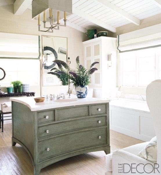 Dresser vanity set up like an island - cool