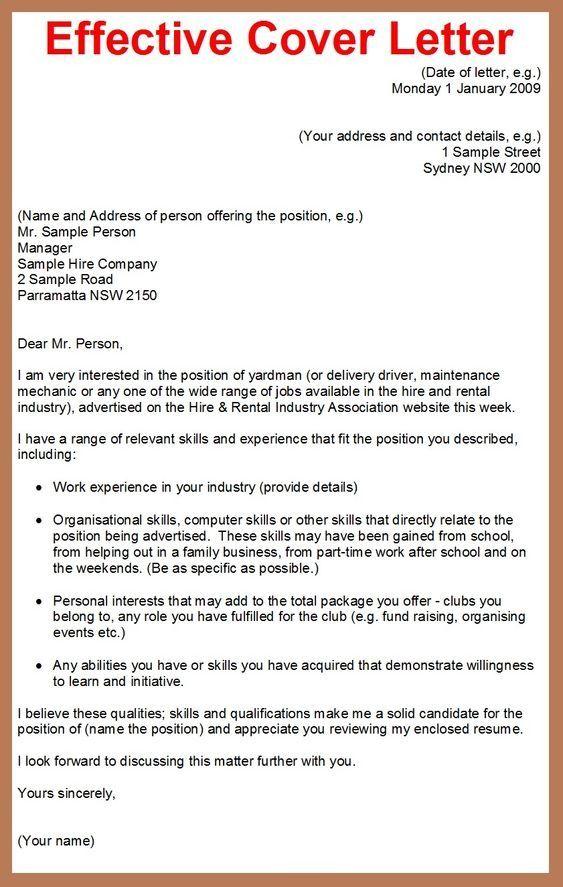 Effective Cover Letter Job Cover Letter Effective Cover Letter Resume Cover Letter Examples