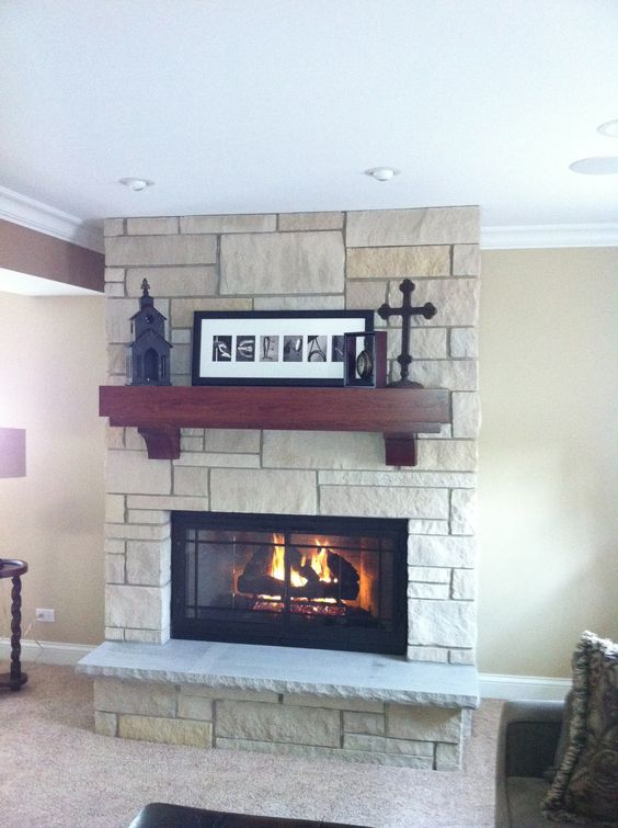 Fieldstone Fireplace Reface Cherry Mantel With Corbells