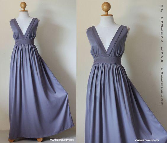 New Arrival - Classy Elegant Deep V-Shape Sleeveless  Gray Formal Long Evening Dress : Keerati My Endless Love  Collection. $69.00, via Etsy.