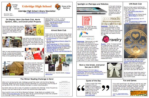 December 2014 UHS Library Newsletter: the Winter Reading Challenge, what's on display, and Book Club's second semester picks.