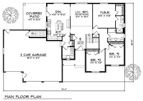 House floor plan for 94800 ranch house plans 1640 sq ft for Ranch house plans with bedrooms together