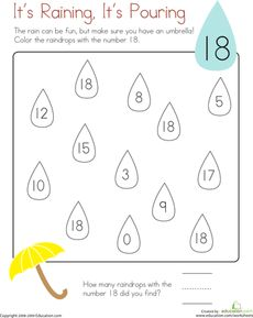 Coloring 18: It's Raining, It's Pouring | Worksheets, Kindergarten ...