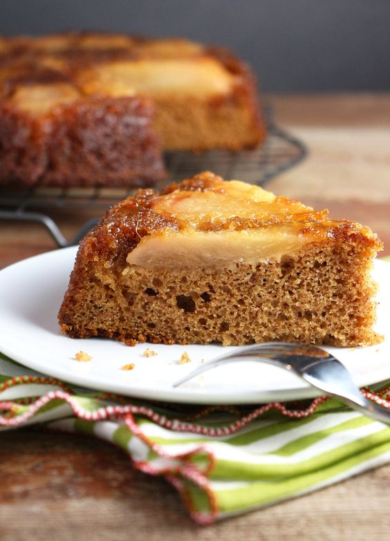 A chilly day cries out for the warm-you-up spices of ginger, allspice and cinnamon in this simple Ginger Pear Upside Down Cake.