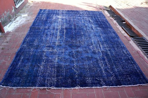 10 x 7  ft LARGE Vintage BLUE Overdyed handmade rug by Apexcarpets