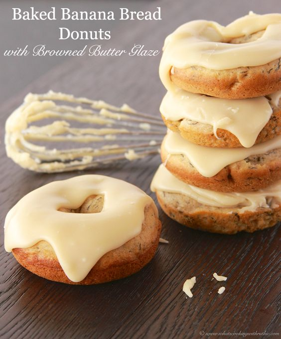 Baked Banana Bread Donuts with Browned Butter Glaze -will rock your world.  If you love banana bread you might try your hand at making these! food, breakfasts, party food, holidays, snacks