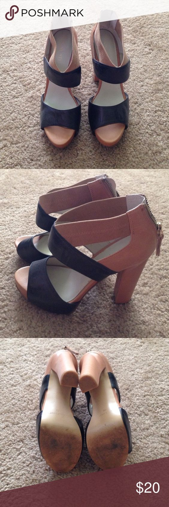 Color block Nine West heels! These will go with everything! Worn a time or two. Nine West Shoes Heels