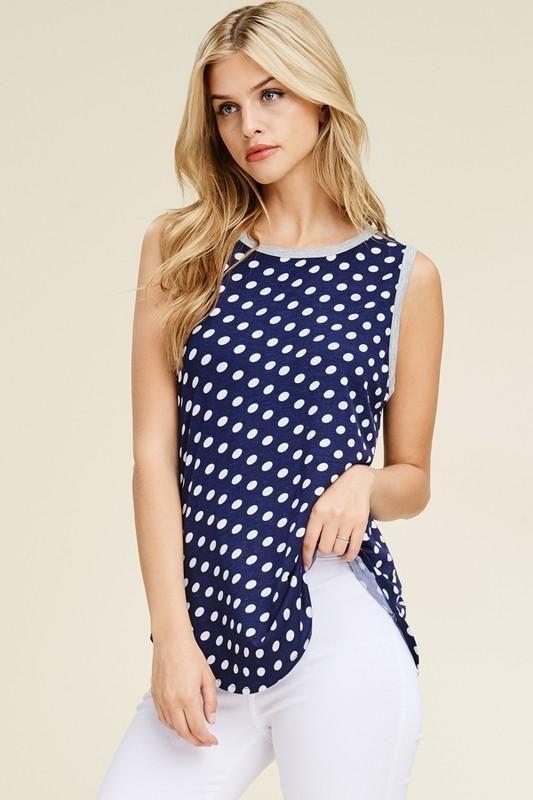3//4 Sleeve V-neck Navy White Polka Dots Tunic Midi Dress Gilli