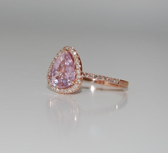 rose gold pink rock engagement rings | resreved -2.44ct Peach pink champagne tear drop sapphire and rose gold ...