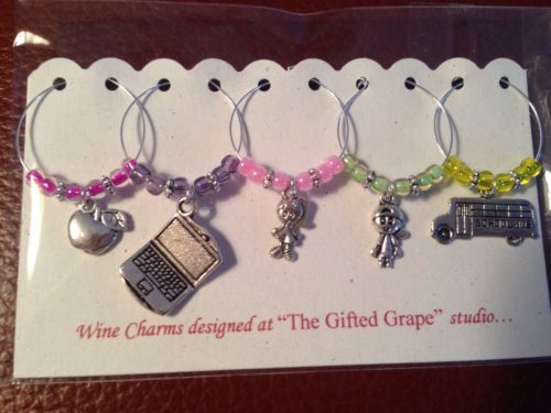 Wine Glass Charm - Teacher Gift School Bus Computer Apple Boy Girl