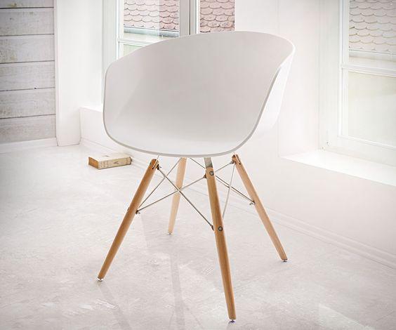 Esszimmerstuhl Lissabon Weiss Matt Edelstahl Massivholz Möbel Stühle Esszimmerstühle