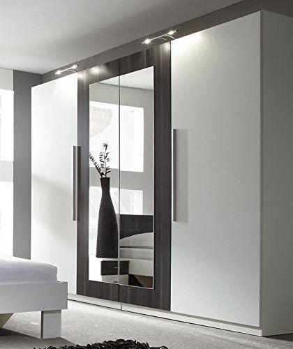 Kleiderschrank Schrank 54027 4-türig mit Spiegel weiß   nussbaum - badezimmerschrank mit spiegel