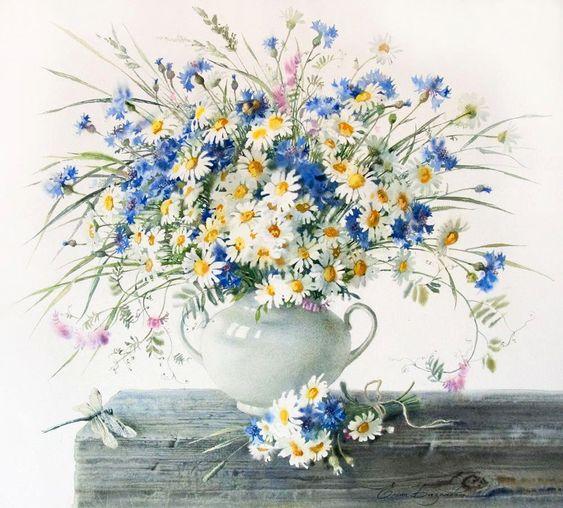 E.Bazanova (b.1968) — Cornflowers and Daisies (1000×902):